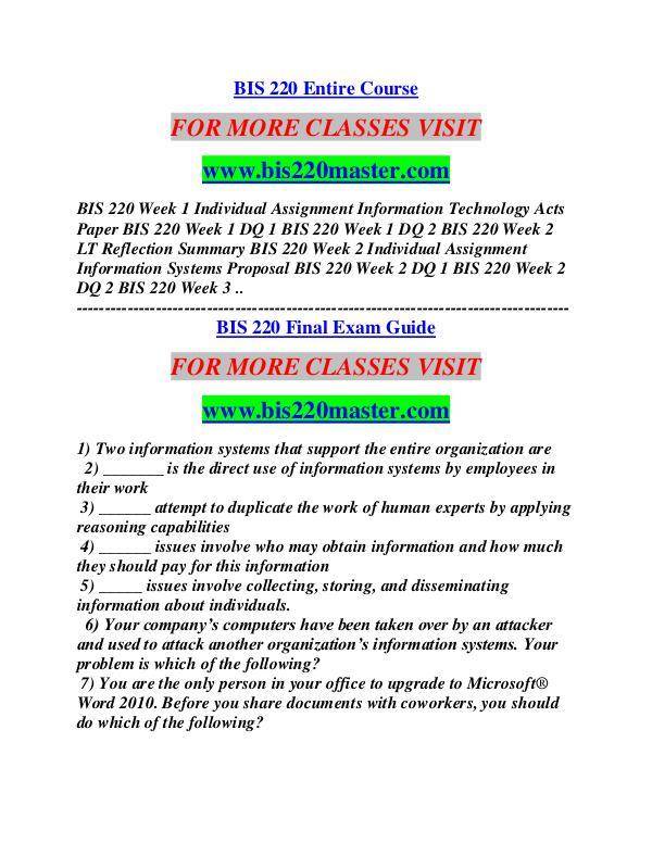 BIS 220 MASTER Career Begins/bis220master.com BIS 220 MASTER Career Begins/bis220master.com