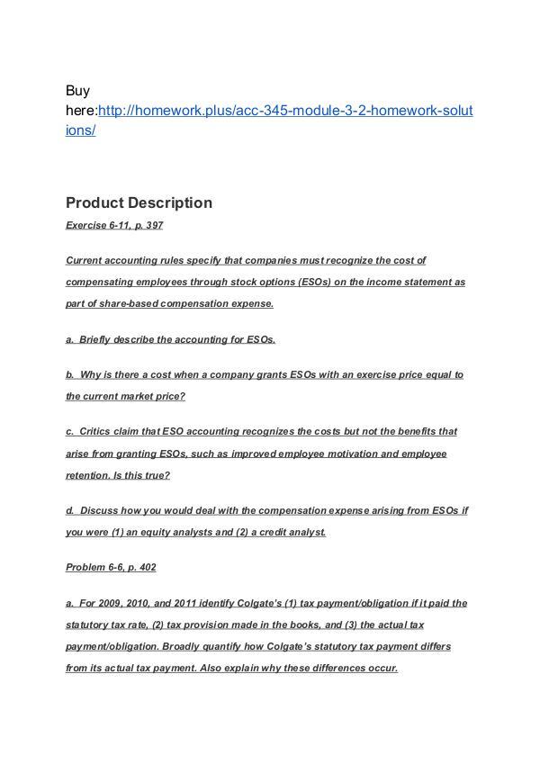 ACC 345 Module 3-2 Homework (solutions) SNHU