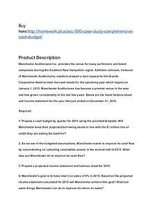 ACC 500 Case Study – Comprehensive Cash Budget