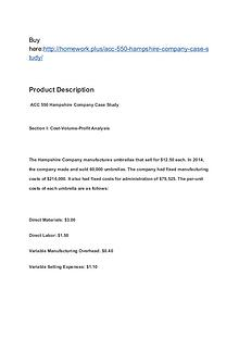 ACC 550 Hampshire Company Case Study