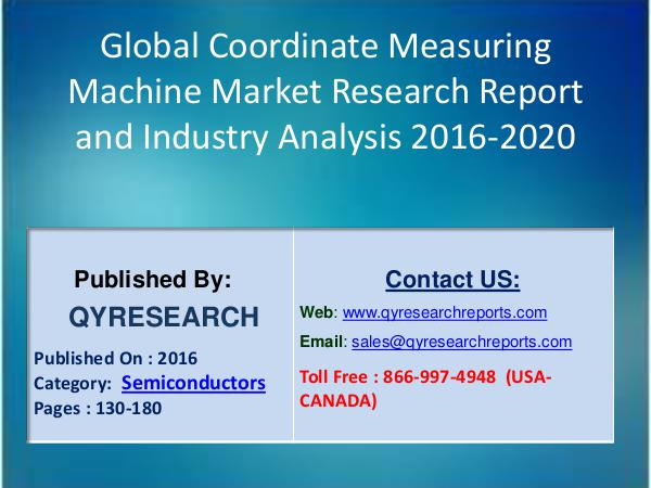 Global Centrifugal Pump Industry 2016 Market Development and Segments Global Coordinate Measuring Machine (CMM) Industry
