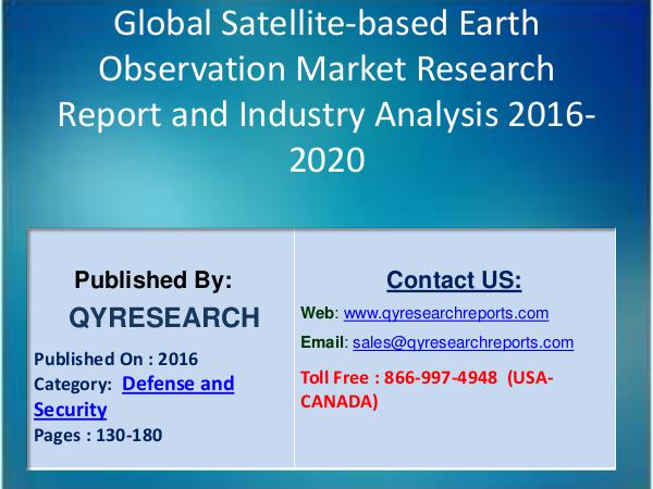 Global BIPV Market 2016 Analysis, Regional Outlook and Strategies Global Satellite-based Earth Observation Market