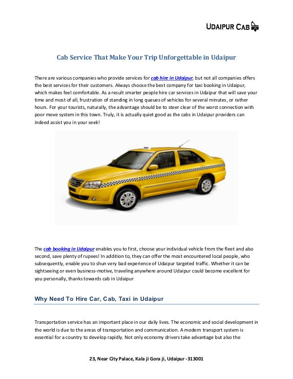 Cab Service That Make Your Trip Unforgettable in Udaipur Cab Service That Make Your Trip Unforgettable in U
