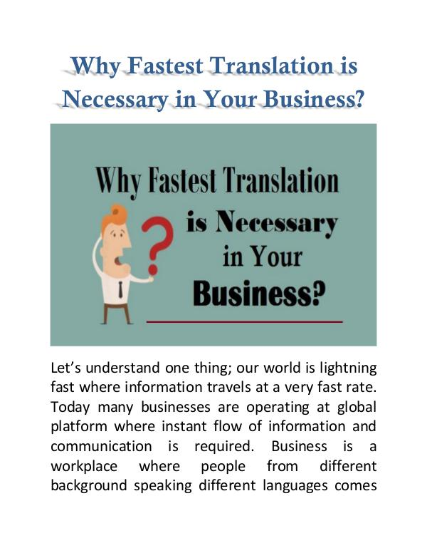 Why Fastest Translation is Necessary in Your Business? Why Fastest Translation is Necessary in Business