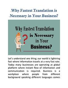 Why Fastest Translation is Necessary in Your Business?