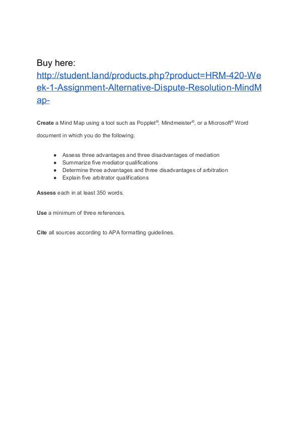 HRM 420 Week 1 Assignment Alternative Dispute Resolution MindMap Homework