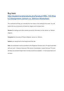 REL 133 Week 2 Assignment Jainism vs. Sikhism Worksheet