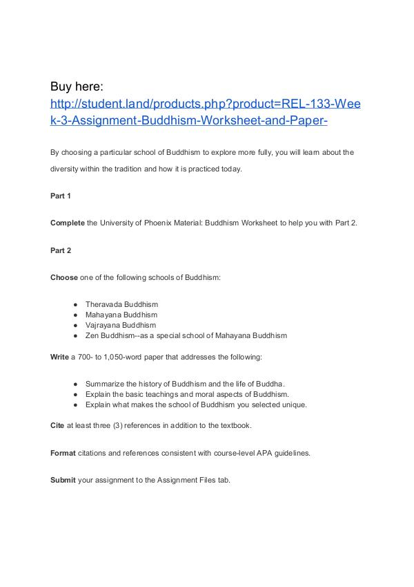 Rel 133 Week 3 Assignment Buddhism Worksheet And Paper Homework: Buddhism Worksheet At Alzheimers-prions.com