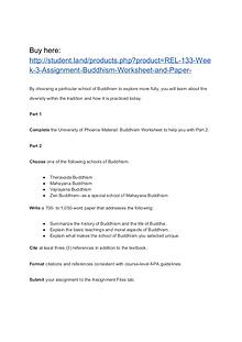 REL 133 Week 3 Assignment Buddhism Worksheet and Paper
