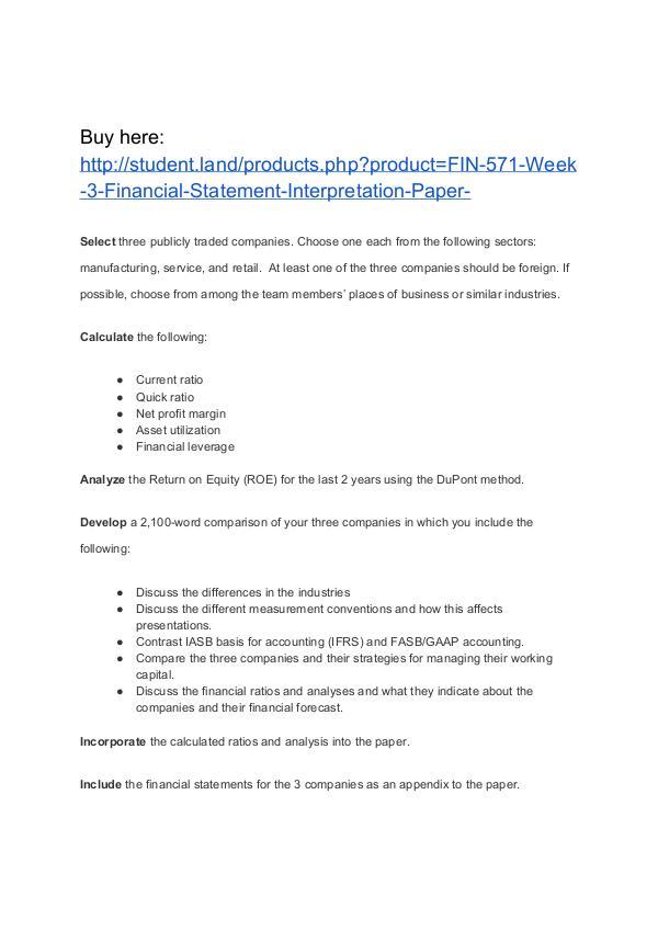 FIN 571 Week 3 Financial Statement Interpretation Paper Homework