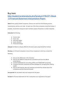 FIN 571 Week 3 Financial Statement Interpretation Paper