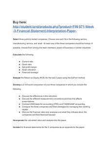 FIN 571 Week 3 Financial Statement Interpretation Paper