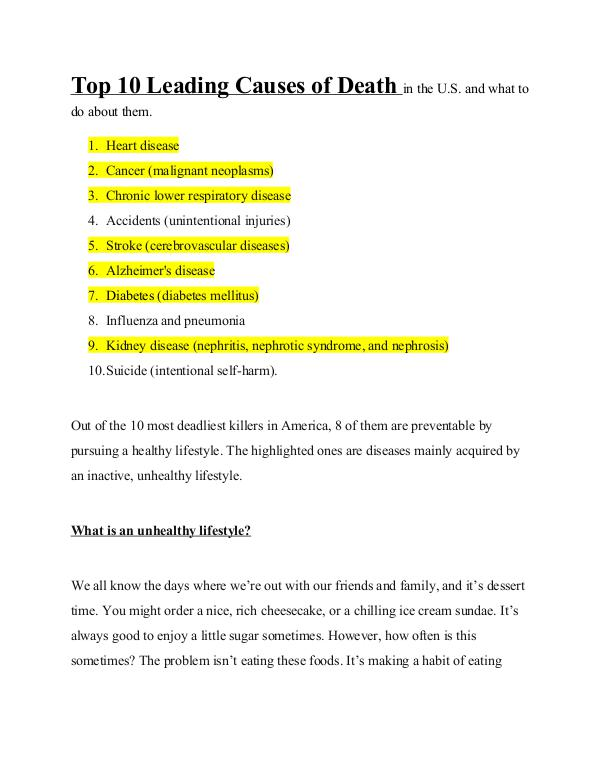 Top 10 Leading Causes of Death in the U.S Top 10 Leading Causes of Death in the U.S