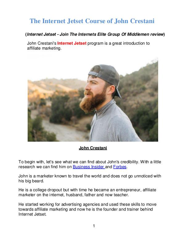 Affiliate marketing & Internet Jetset Course of John Crestani Affiliate marketing & Internet Jetset Course of Jo