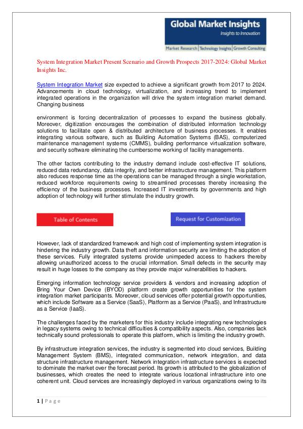 System Integration Market forecast Pdf - System Integration Market