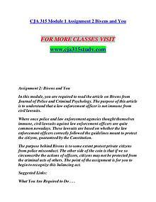 CJA 315 STUDY Invent Yourself/cja315study.com