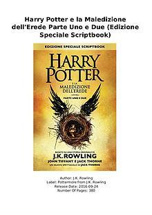 DOWNLOAD PDF Harry Potter e la Maledizione dell'Erede Parte Uno