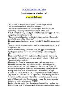 ACC 573 Endless Education /uophelp.com