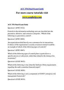 ACC 576 Endless Education /uophelp.com