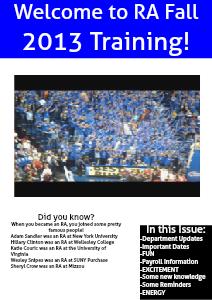 RA Newsletter Fall 2013 July 2013