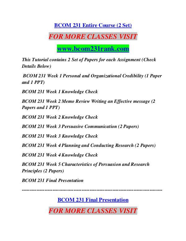 BCOM 231 RANK Career Begins/bcom231rank.com BCOM 231 RANK Career Begins/bcom231rank.com