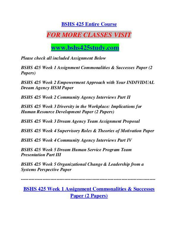 BSHS 425 STUDY Career Begins/bshs425study.com BSHS 425 STUDY Career Begins/bshs425study.com