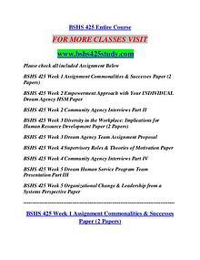 BSHS 425 STUDY Career Begins/bshs425study.com