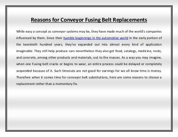 Reasons for Conveyor Fusing Belt Replacements fusing belt