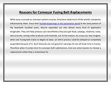 Reasons for Conveyor Fusing Belt Replacements