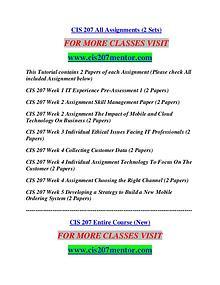 CIS 207 MENTOR Career Begins/cis207mentor.com