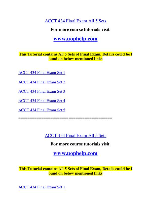 ACCT 434 Endless Education /uophelp.com ACCT 434 Endless Education /uophelp.com