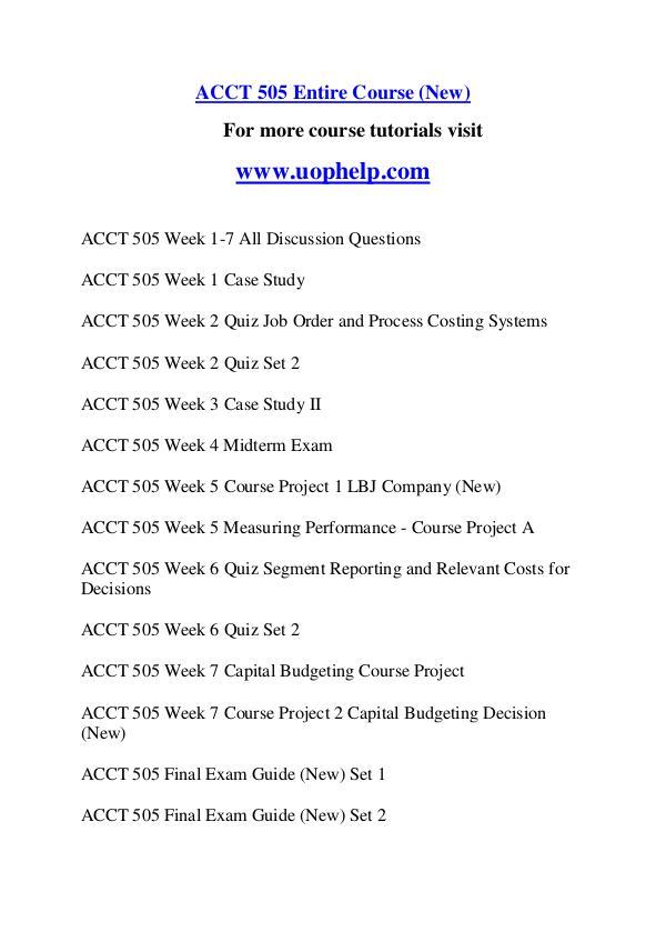 ACCT 505 Endless Education /uophelp.com ACCT 505 Endless Education /uophelp.com
