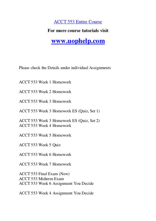 ACCT 553 Endless Education /uophelp.com ACCT 553 Endless Education /uophelp.com