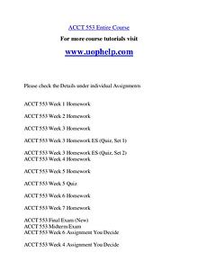 ACCT 553 Endless Education /uophelp.com
