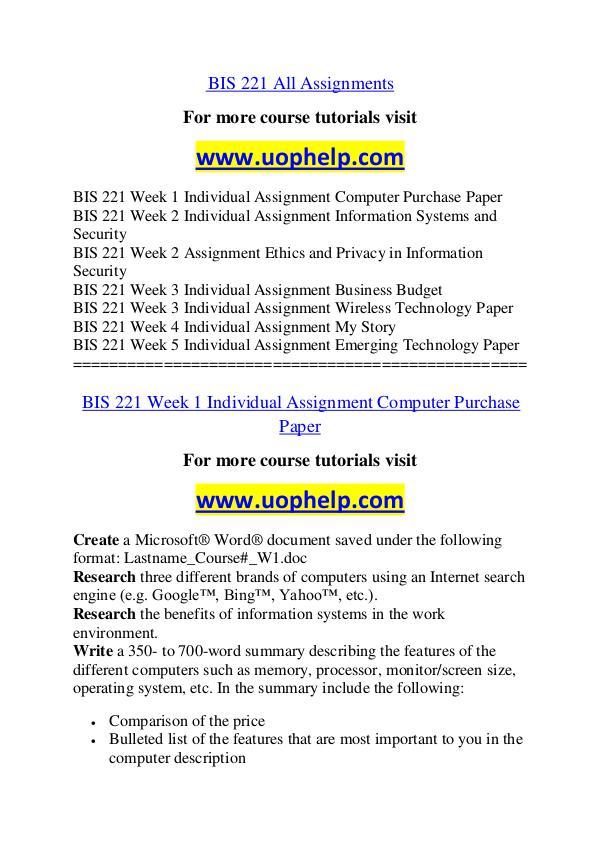 BIS 221 Endless Education /uophelp.com BIS 221 Endless Education /uophelp.com