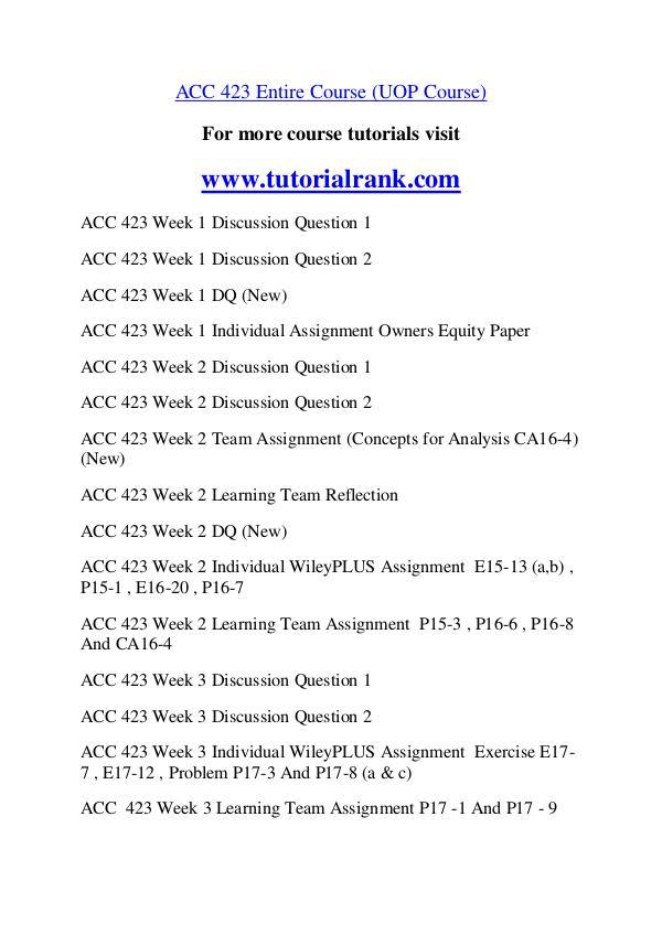ACC 423  Course Great Wisdom / tutorialrank.com ACC 423  Course Great Wisdom / tutorialrank.com