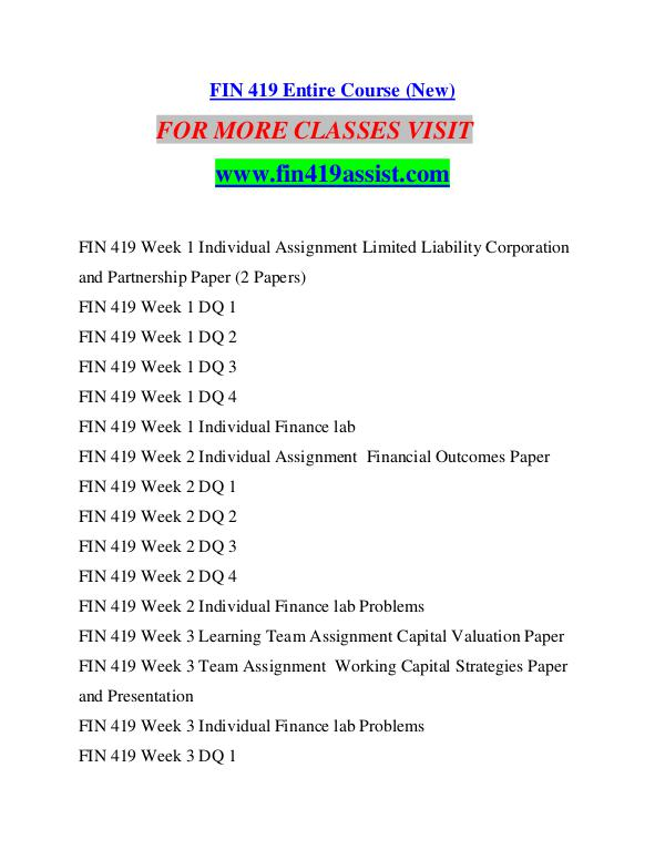 fin 419 week 2 financial outcomes paper Fin 419 week 3 assignment ( these are just samples) week 3 working capital strategies paper and presentation resource: financial outcomes paper from week 2.