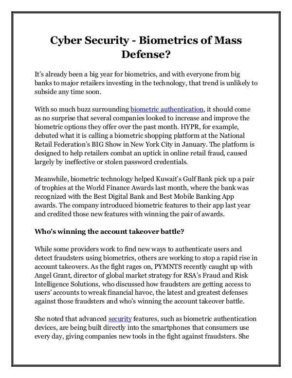 Cyber Security - Biometrics of Mass Defense?