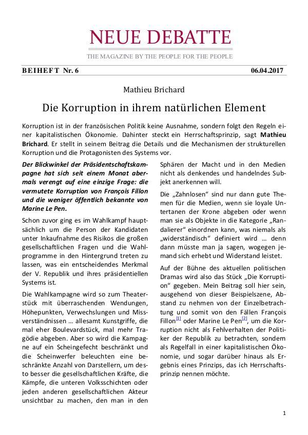 Neue Debatte - Beiheft #006 - 04/2017 Über die Korruption in Frankreich