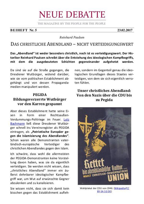 Neue Debatte - Beiheft #005 - 04/2017 Christliches Abendland - Nicht verteidigungswert!