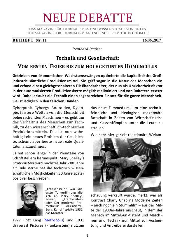 Modern Times: Vom ersten Feuer bis zum hochgetunten Homunculus Neue Debatte - Beiheft #011 - 07/2017