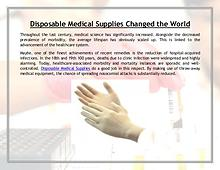 Disposable Medical Supplies Changed the World