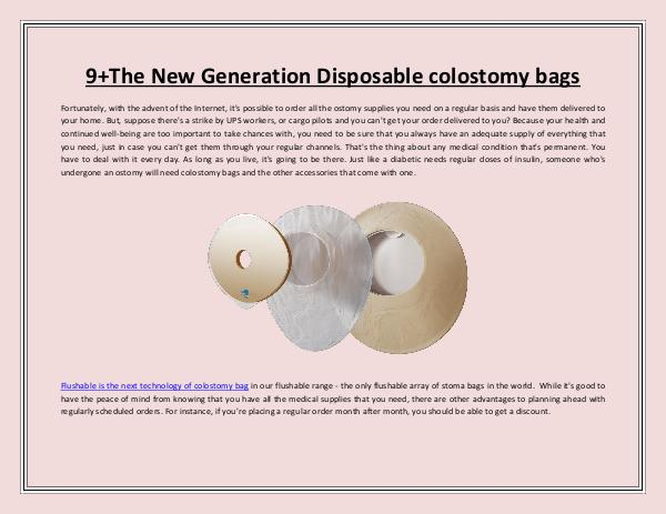 The New Generation Disposable colostomy bags The New Generation Disposable colostomy bags