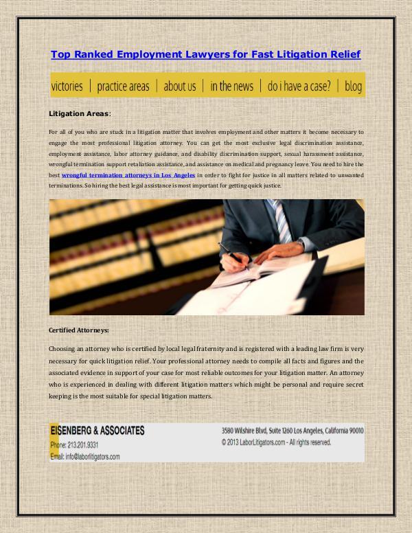 Eisenberg & Associates Top Ranked Employment Lawyers for Fast Litigation
