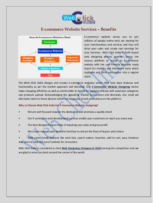 Ecommerce Website Designing Company In Delhi - Web Click India Ecommerce Web Designing Company in Delhi