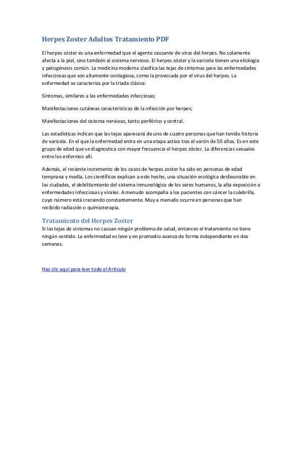 Herpes Zoster Adultos Tratamiento PDF