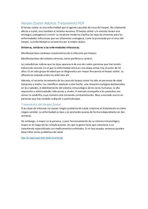 Herpes Zoster Adultos Tratamiento PDF