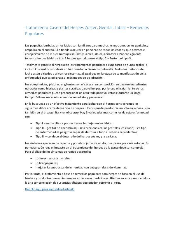 Tratamiento Casero del Herpes Zoster, Genital...