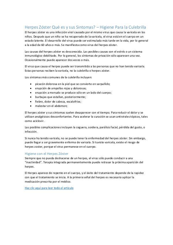 Herpes Zóster Qué es y sus Sintomas – Higiene Para