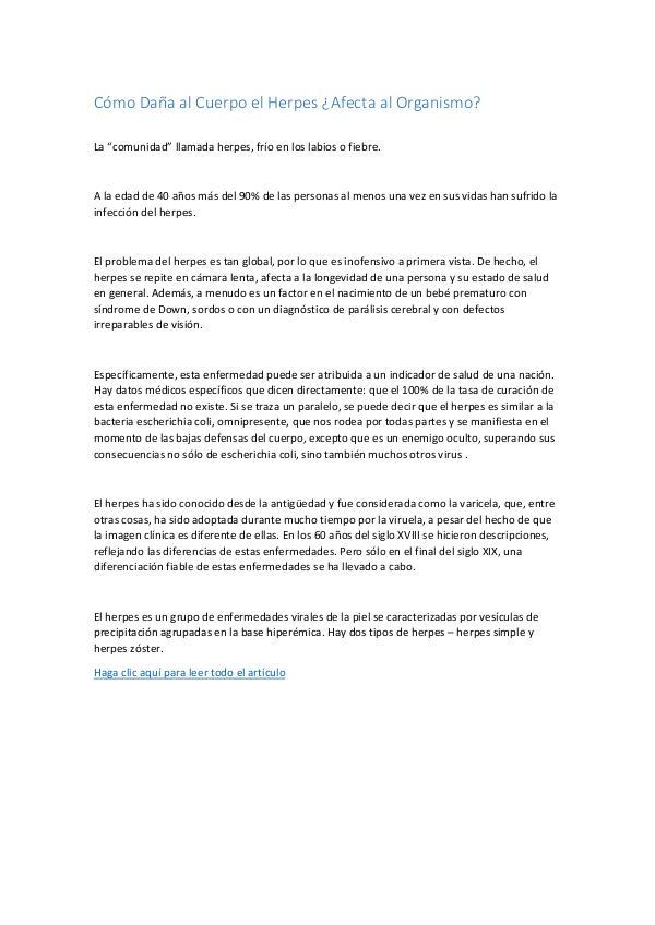 Mi primera revista Cómo Daña al Cuerpo el Herpes Afecta al Organismo.